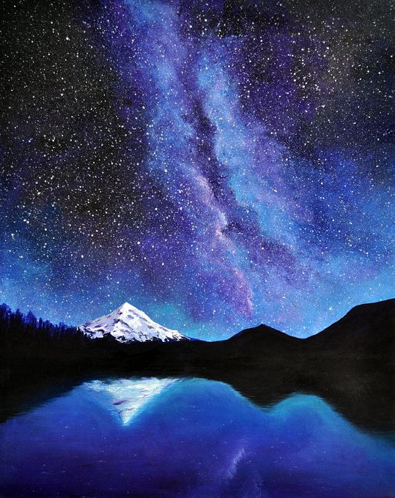 Mt Hood And The Milky Way Original Acrylic Painting Paintings