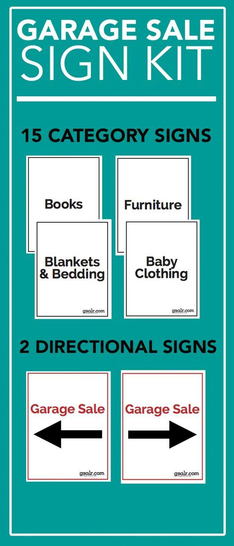 Garage Sale Sign Kit Free Download Pinterest Yard sale - free for sale signs for cars