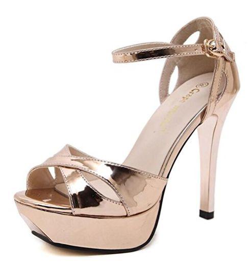 Aisun Damen Fashion Peep Toe Cross Riemen Offen High Heels Plateau Sandalen