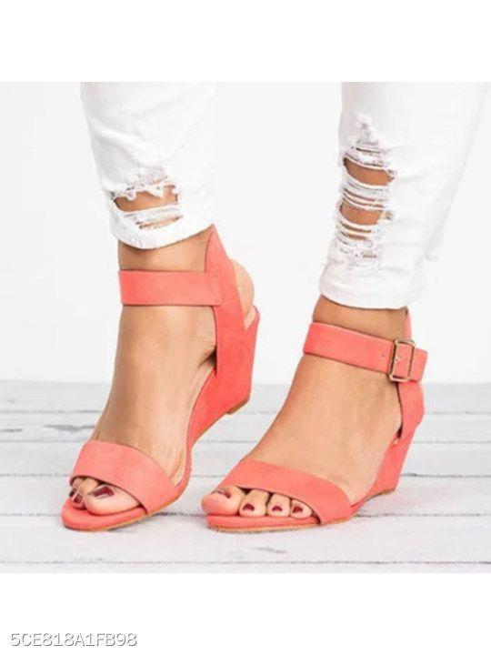 495238d16612 Plain High Heeled Velvet Ankle Strap Peep Toe Date Wedge Sandals -  berrylook.com