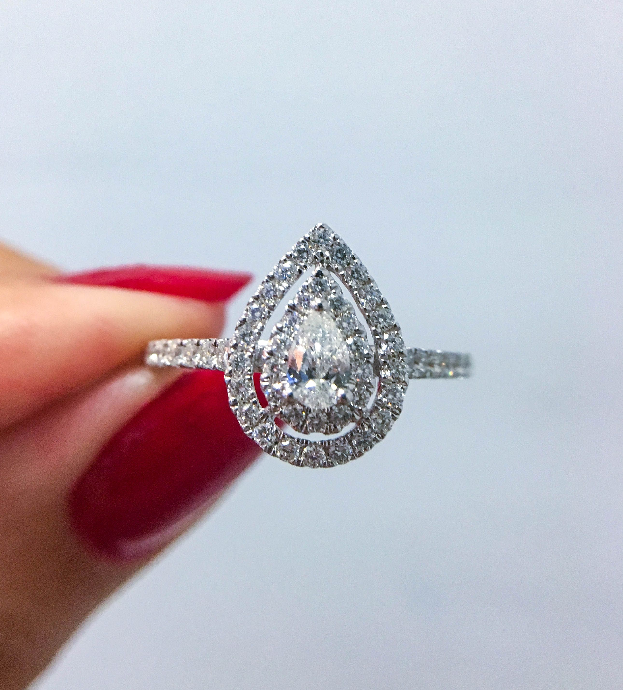 Ellaura Couture Pear Shaped Double Halo Diamond Engagement Ring 5 8ctw Black Diamond Engagement Ring Set Black Diamond Ring Engagement White Gold Sapphire Engagement Rings