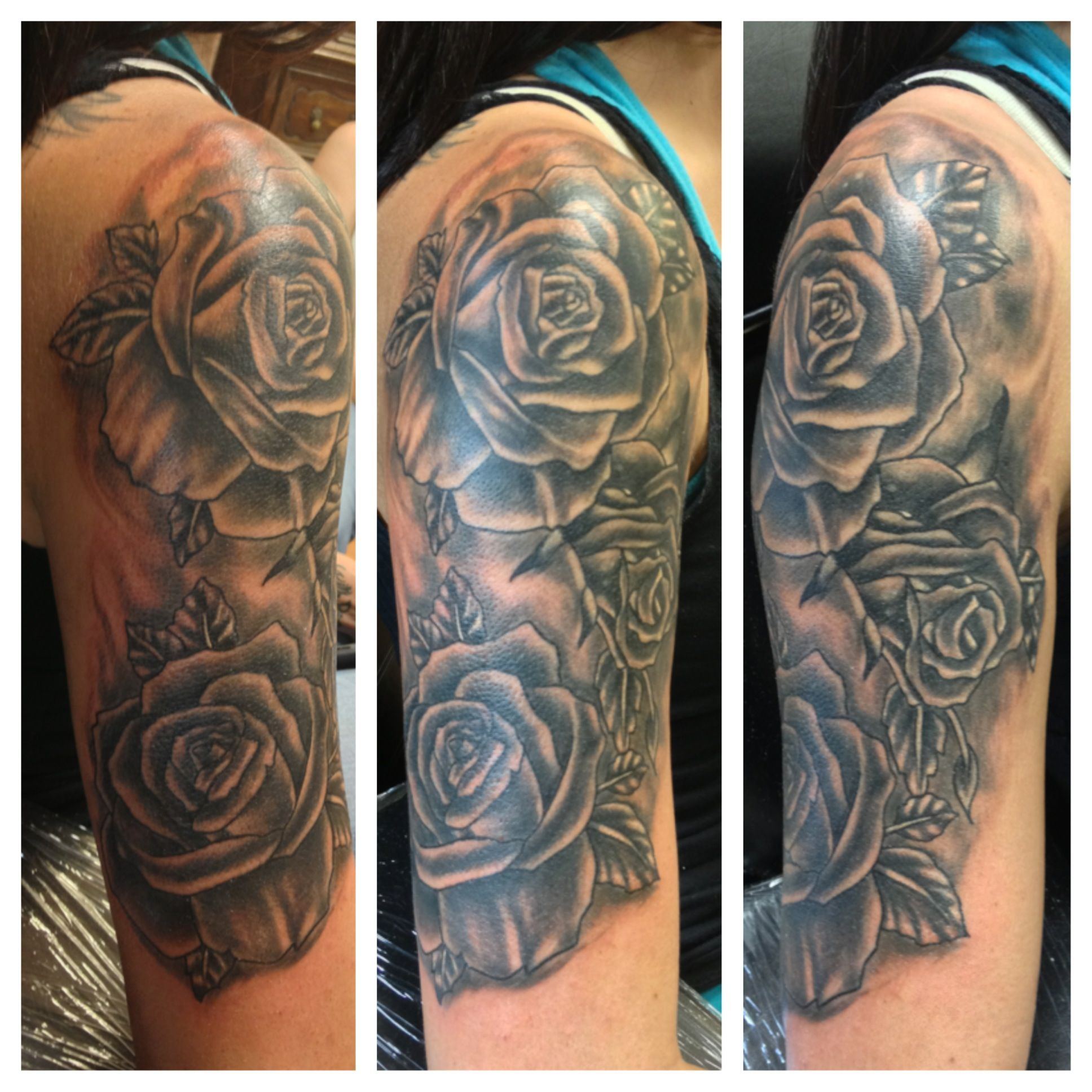 Tattoo Leg Man Rose Flower Black And White: Black And White Rose Half Sleeve Done By Bob Price At