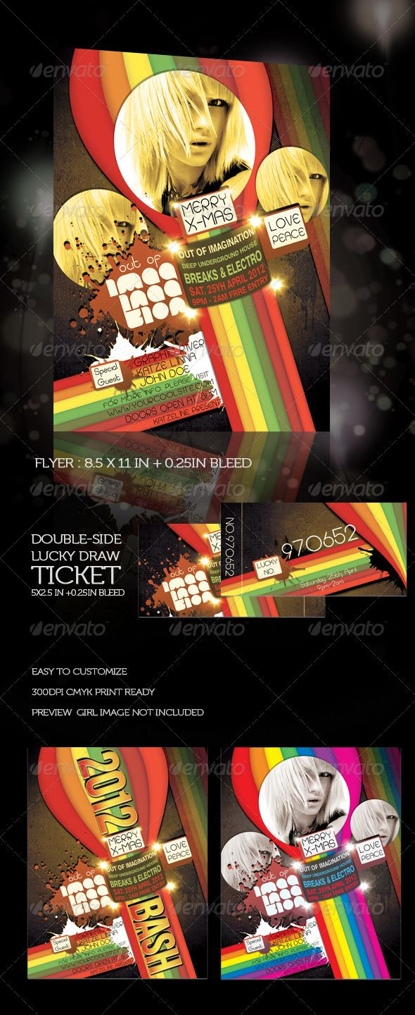 new year flyer and lucky draw ticket graphicriver new year flyer and ticket include 3 psd files flyer text image version 8511 025in bleed
