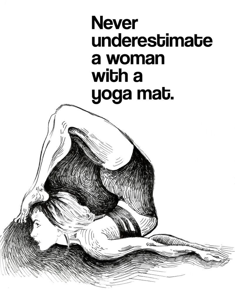 Motivational yoga quote, black and white yoga drawing, yogini, yoga gift, yoga print, quote Art Print by yogabender
