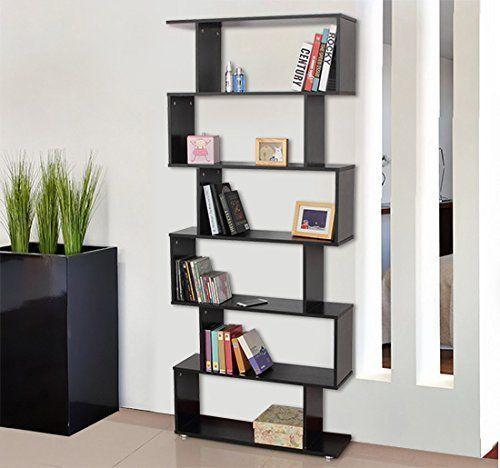 Homcom libreria di design mobili ufficio scaffale in legno 80x25x192cm nero - Libreria da camera ...