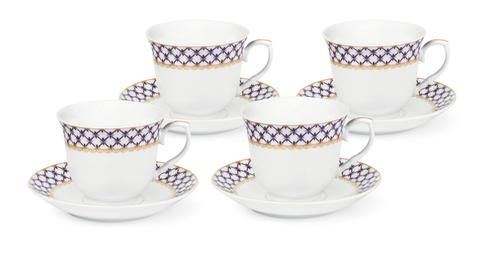 Blue and Gold Lattice Wholesale Tea Cups and Saucers | Inexpensive ...