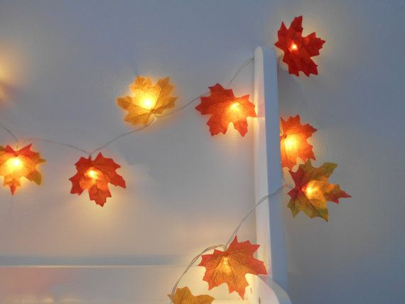 High Quality Mixed Autumn Leaves Fairy Lights / String Lights   LED Garland   Battery  Operated   Orange Red Yellow Leaf   Choose 1m 2m 3m 4m 5m 10m
