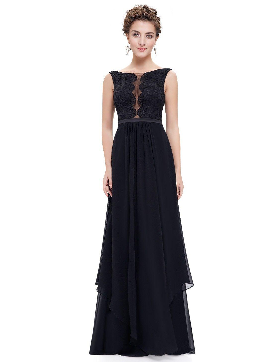 Floor length evening dress with sexy scallop neckline neckline