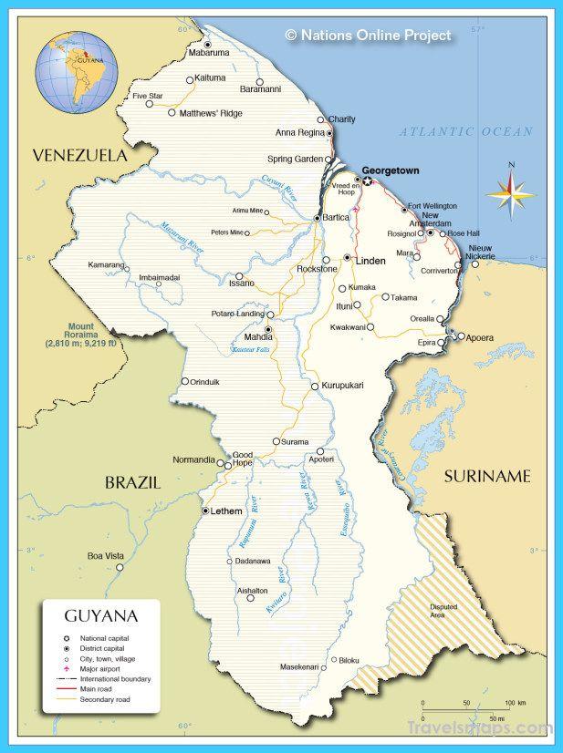 cool Map of Guyana Travelsmaps Pinterest Public transport