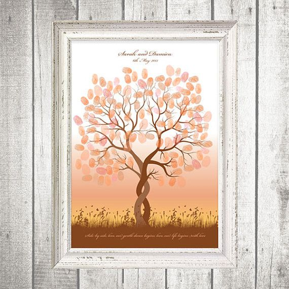 entwined fingerprint guest book tree  printable