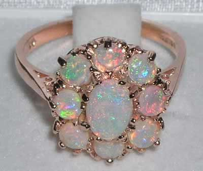9ct Rose Gold Fiery Opal Cluster Ring Dream rings Pinterest