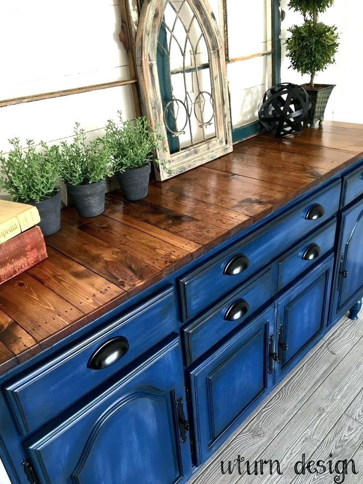 Blue Stained Wood Cabinets Navy
