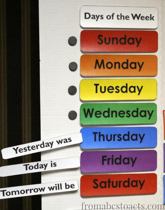 Days of the Week Calendar Board Printable | Pre-K ...