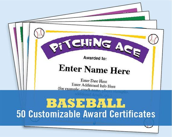 Baseball certificate templates for players, coaches and team - certificates templates