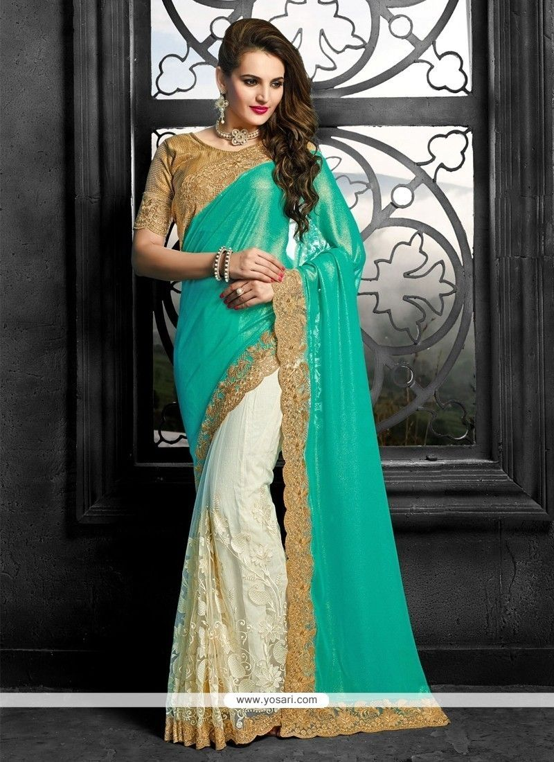 Off saree model images off white patch border work faux chiffon classic saree  pinterest