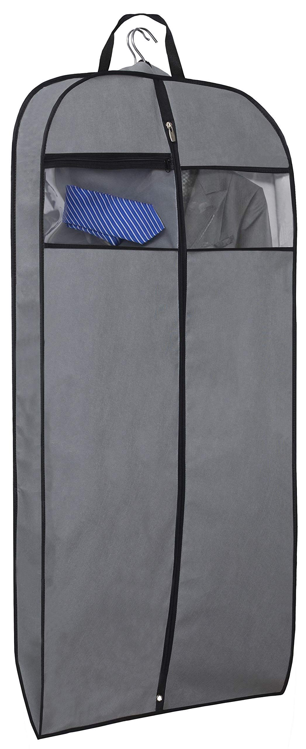 2834155cdd69 Garment Bag 5pcs 43 inch grey suit cover with 3.5 inch gusseted suit ...