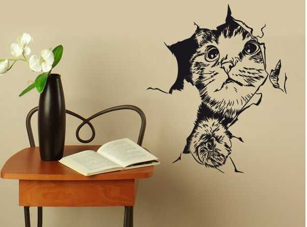 Наклейки на стену кошки. Виниловые наклейки на обои коты и ...