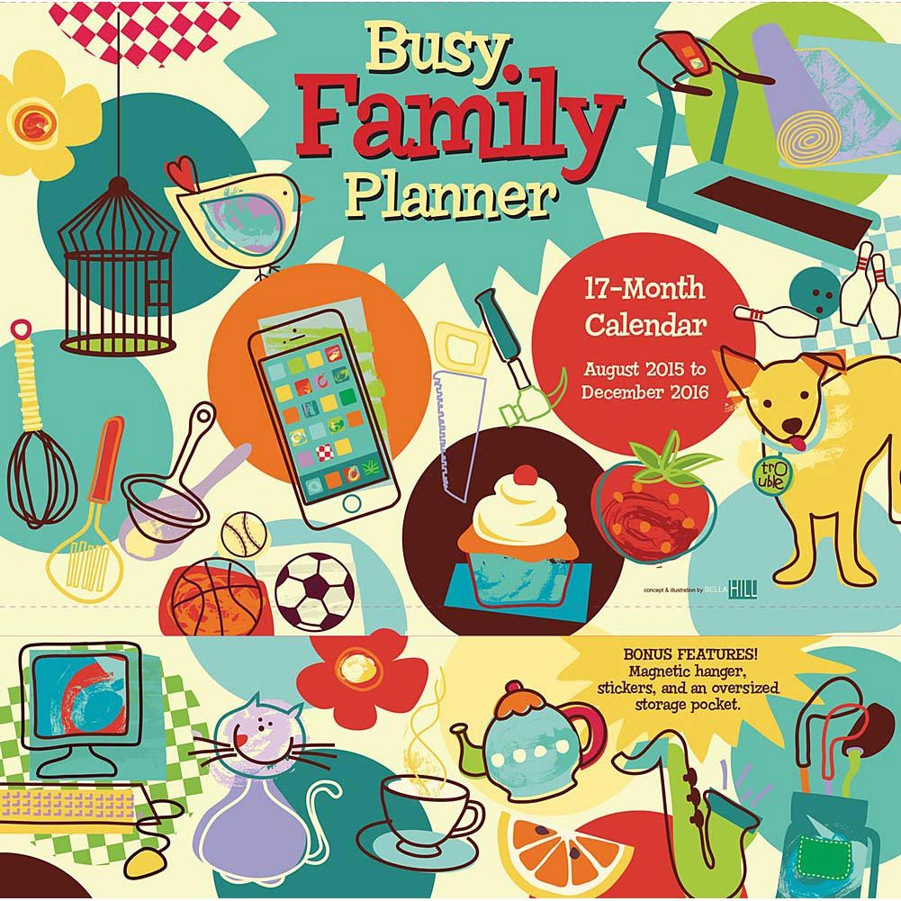 busy family pocket wall calendar family planner family on wall of moms id=84839