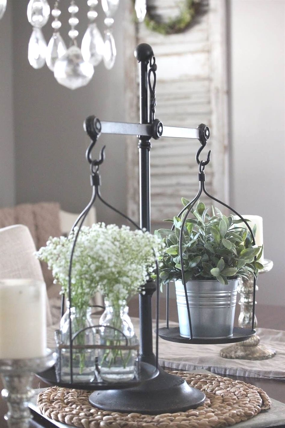 Old kitchen scale with herbs and flowers kitchendecorideas