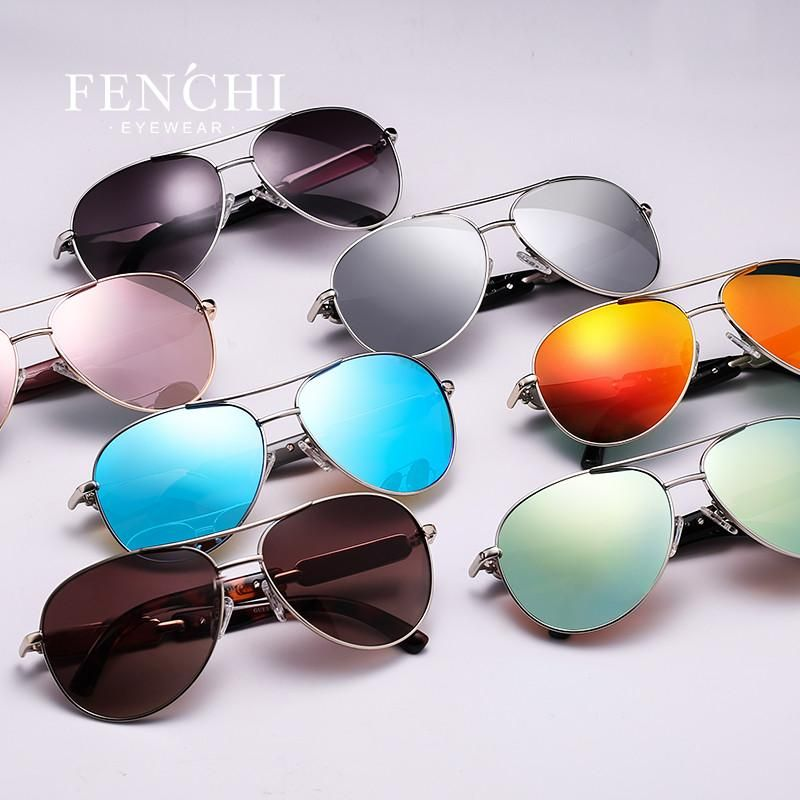 7a64232e694 Fenchi sunglasses women metal hot rays glasses driver pilot mirror fashion  men design new colourful sunglasses high quality