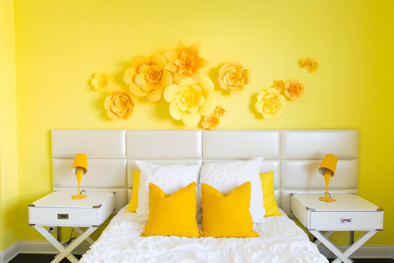 Adelaine Morin S Hello Yellow Bedroom Makeover Yellow Wall Decor