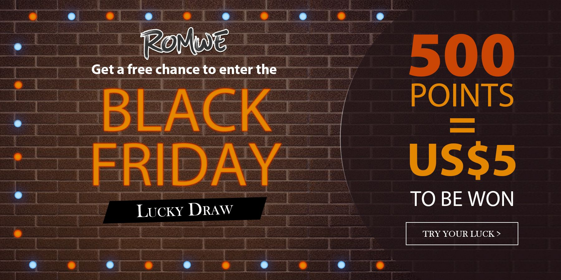 Romwe Black Friday Lucky Draw 500 Points = US $5 To Be Won #game ...
