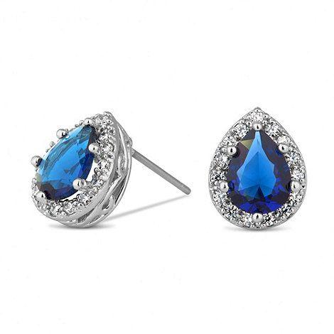 Jon Richard Blue peardrop surround stud earring- | Debenhams