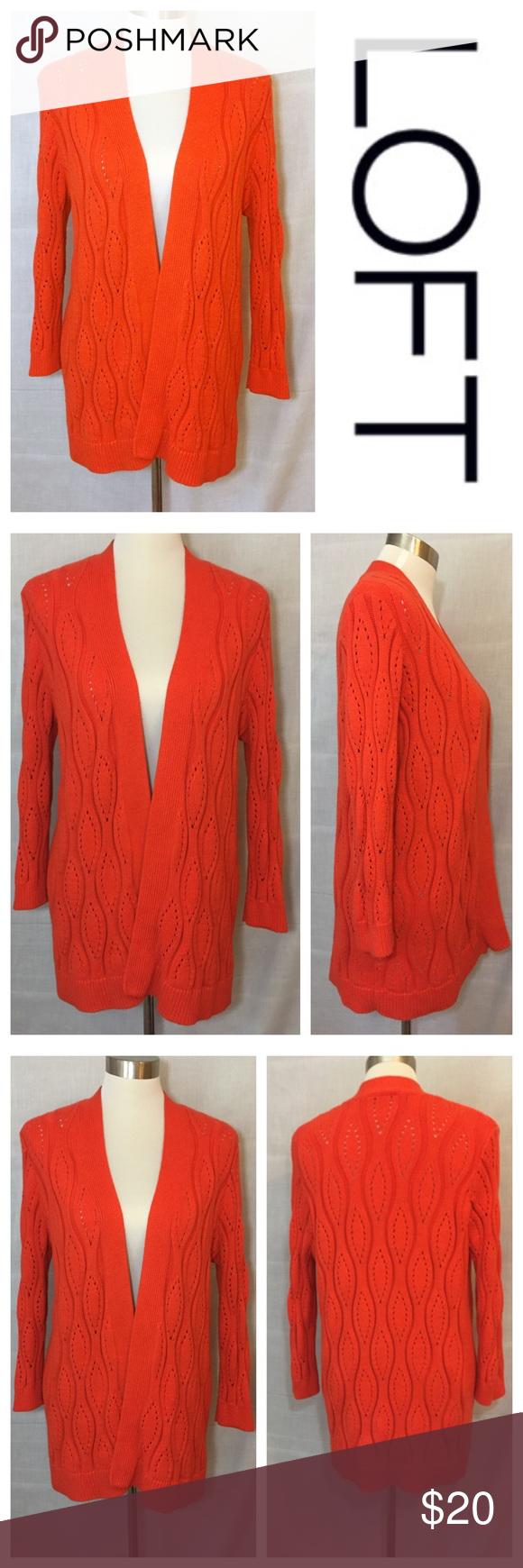 Loft Cardigan Sweater Orange Wavy Cabled Cotton L | Red orange ...