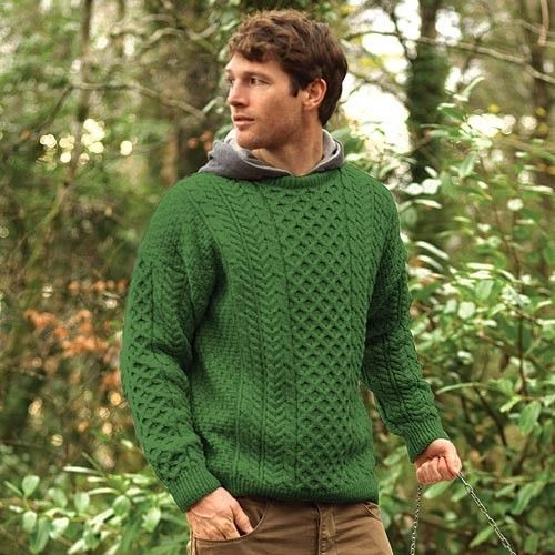 78a65fa9229 Carraig Donn Men s Traditional Merino Wool Irish Aran Sweater Green ...