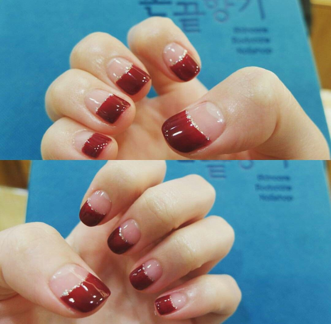 Deep Red Burgundy French Nails