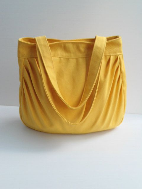 Yellow tote bag --handmade bag/handbag/tote/Shoulder bag-yellow canvas fabric by lalitathaicraft. $35.00, via Etsy.