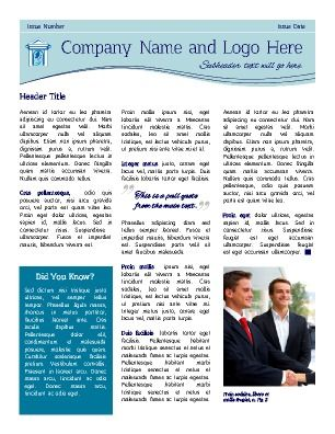 Front Page General Business Newsletter Column Blue Theme - 3 column newsletter template