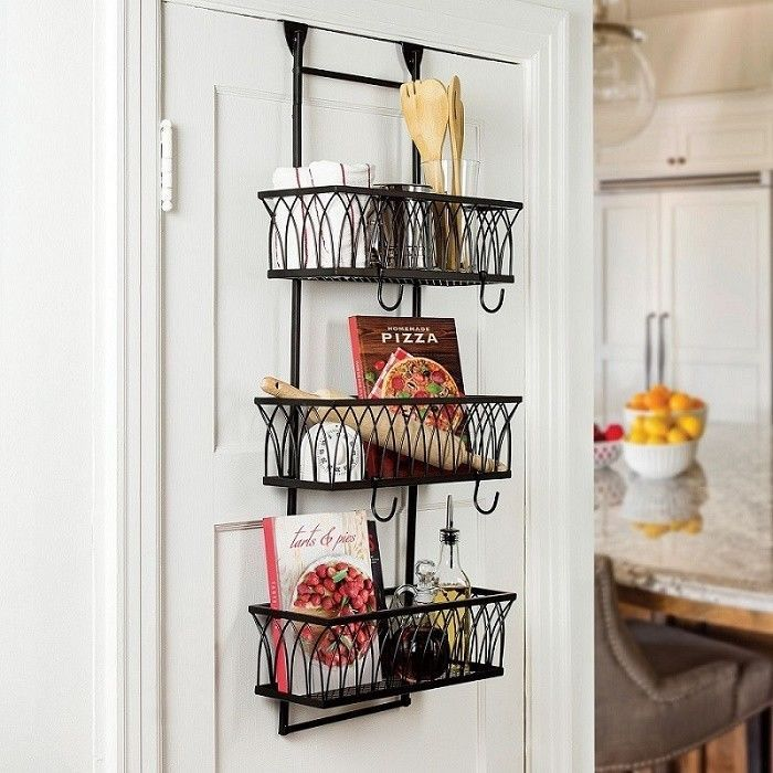 Kitchen Bathroom Storage Organizer Over The Door 3 Basket Rack