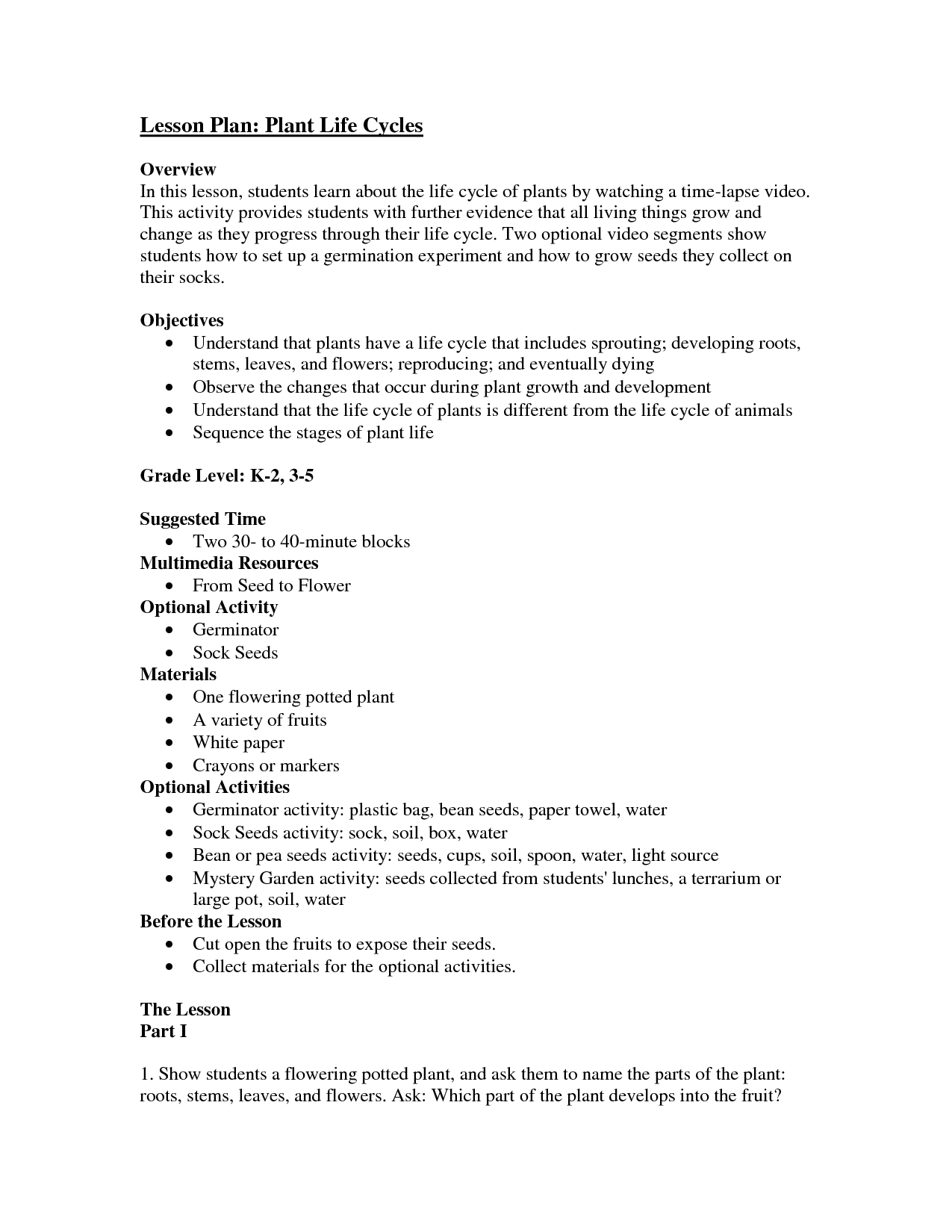 flower lesson plans lesson plan plant life cycles overview in this