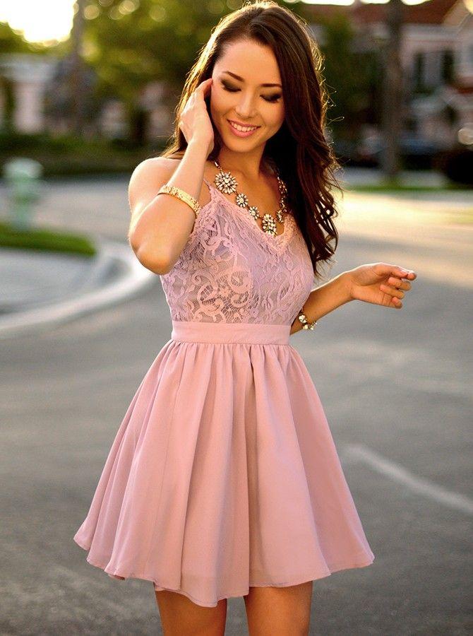 62aa885398c A-Line Spaghetti Straps Short Purple Chiffon Homecoming Dress with Lace