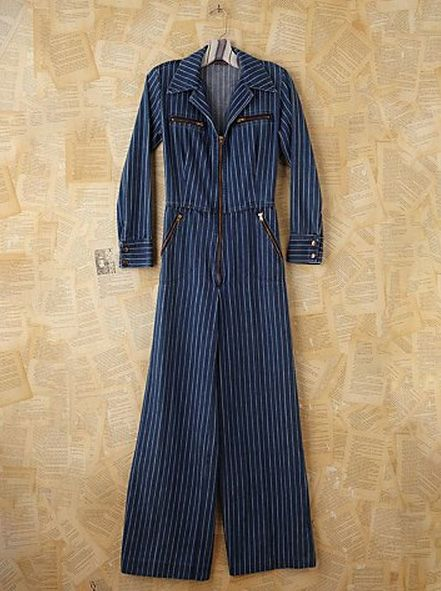 FREE PEOPLE Vintage Pinstripe Denim Jumpsuit