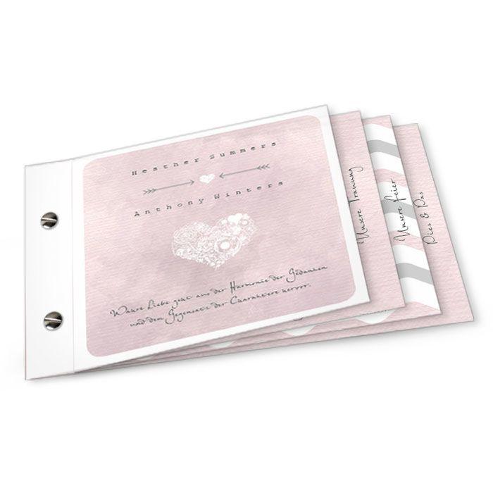 booklet einladungskarte hesther und anthony altrosa | hochzeiten, Einladung