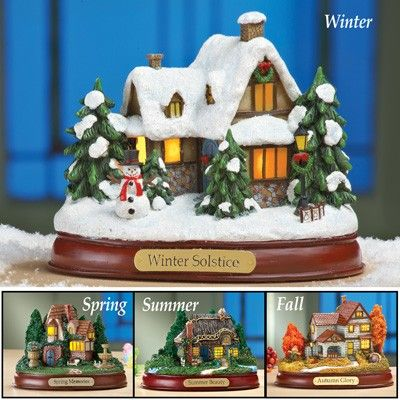 Lighted Seasonal Cottage Tabletop Decor
