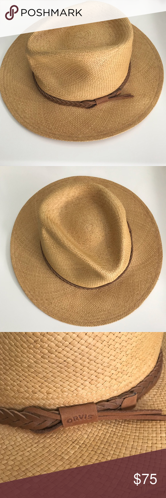 New Orvis Panama Braided Leather Straw Hat L Xl Braided Leather Orvis Straw Hat