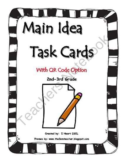 Main Idea Task Cards Set 3 with QR Code Option 2nd and 3rd