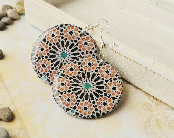 Mosaic earrings   moroccan earrings marrakesh earrings by Rozibuz