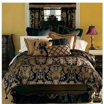 Chris Madden Midnight Damask Comforter Set King New