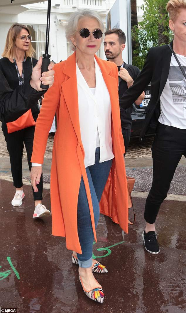 Helen Mirren bravely recycles the shoes she took THAT epic tumble in