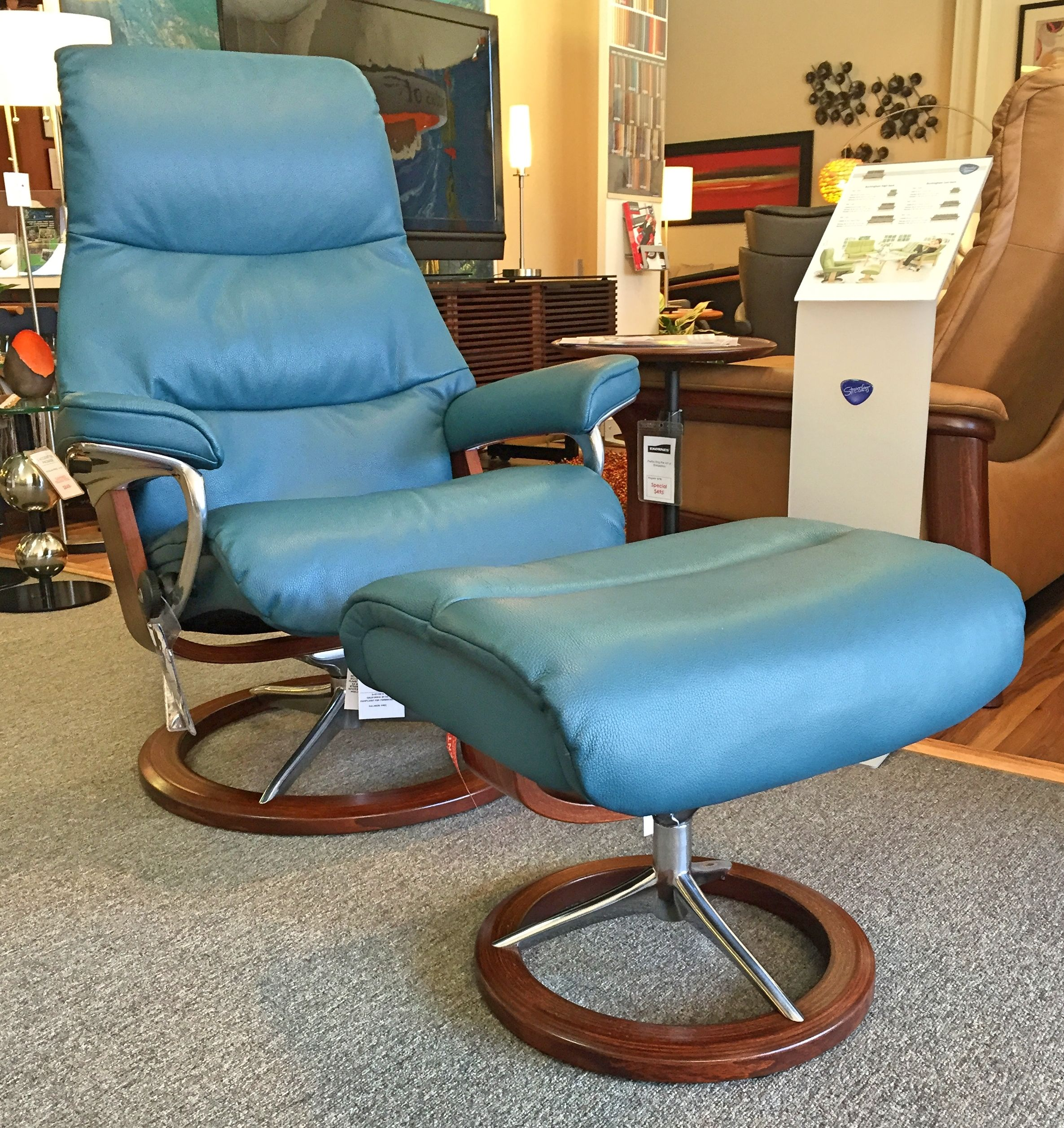 View Recliner in Cori Petrol with Walnut base Available at