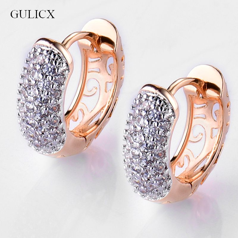 GULICX Women's Huggie Hoop Earrings Gold Electroplated Multicoloured Cubic Zirconia CZ Crystal