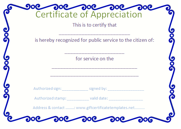 Blue Border Certificate Of Appreciation Template  Certificate Of