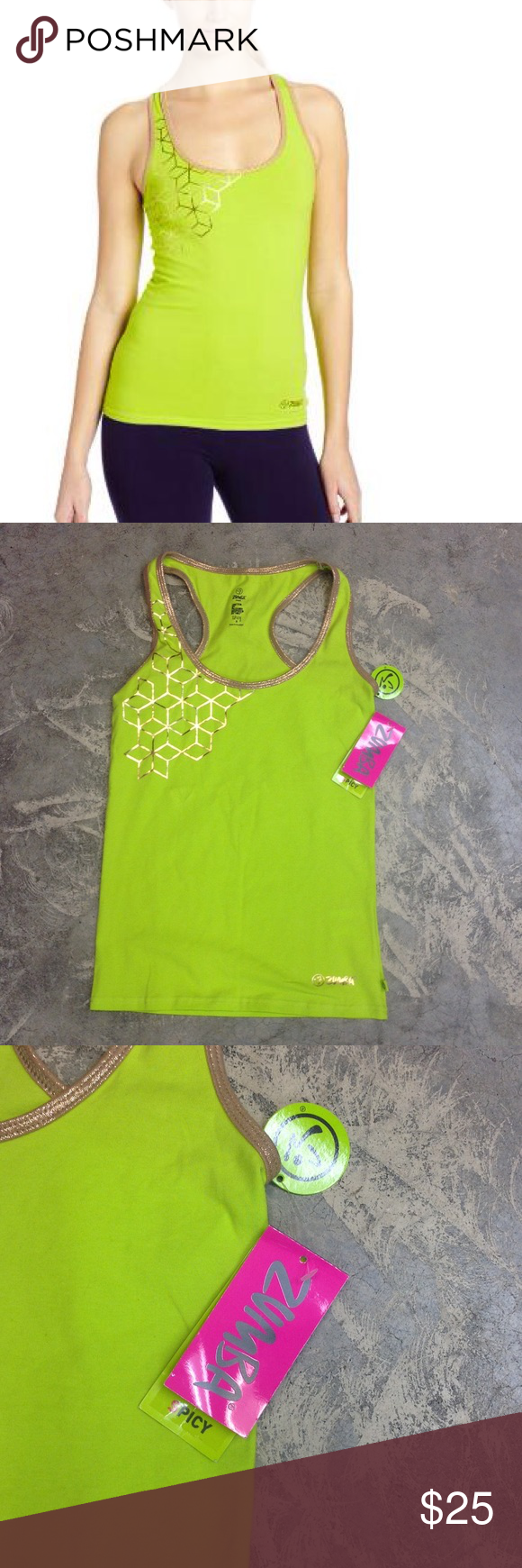 "ZUMBA ""El Fab Futuro Racerback"" Workout Top Y8 🎀 This workout tank top is a size Small in the color ""Love Me Lime"".  It's gold geometric design makes a pop in your workout! :). ***Brand new with tags! Zumba Fitness Tops Tank Tops"