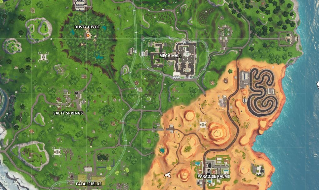 Fortnite Locations Of Where To Complete A Lap Of A Desert Snowy And Grasslands Race Track Here Are The Locations Of Where To Complete Race Track Snowy Racing