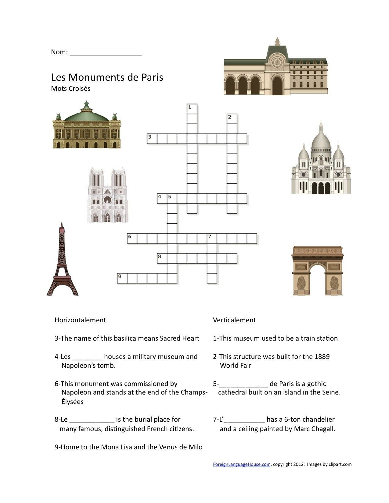 St Patrick S Day Crossword Puzzle High School French Activities French Paris Crossword Puzzle