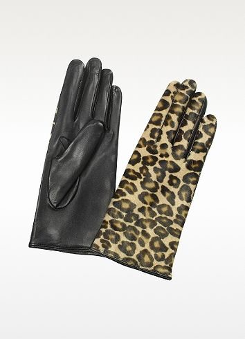 Forzieri Womens Leopard Pony Hair and Italian Nappa Leather Gloves